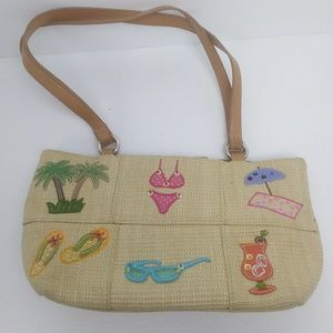 Handbags - Vintage Woven Beach Theme Purse Very Cute!